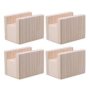 BQLZR - Elevador de mesa de madera de 10 x 7 x 8,5 cm, para muebles de 4 cm y patas de hasta 5 cm, paquete de 4 unidades