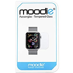 Kaufen Apple Watch 4 - 44mm Panzerglas 3D Folie mit transparenten Kanten - moodie Premium Glasfolie für Gewölbte Displays Full Screen 3D Panzerglasfolie curved - Full Cover vollständige Display Abdeckung für Apple Watch 4 - 44mm
