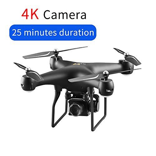 Drone FPV GPS RC con telecamera 4K HD PTZ, Quadcopter di controllo dell'app Android WiFi Video con luci a LED, velivoli a controllo remoto 2.4G con modalità Altitude Hold e modalità Headless,Black