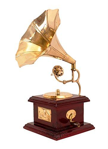Indian Art Villa Vintage Style Brass Gramophone Phonograph Showpiece (Gold, 9.5-inch)