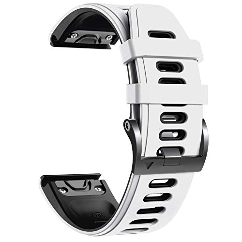 NotoCity Cinturino per Garmin Fenix 6X/Fenix 6X PRO/Fenix 3/Fenix 3 HR/5X/Fenix 5X Plus/, 26mm Cinturino di Ricambio in Silicone, Braccialetto Quick-Fit, Colori Multipli. (Nero+Bianco)