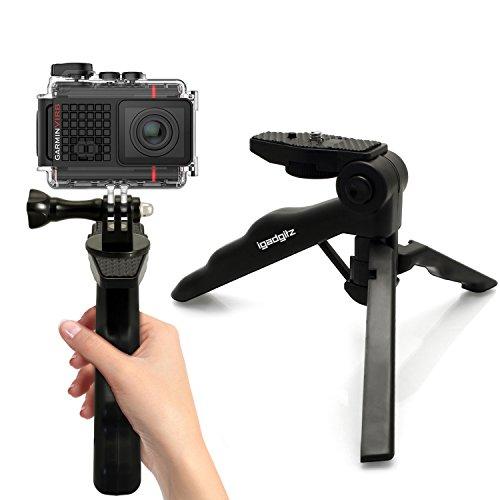 igadgitz 2 in 1 Pistola Stabilizzatore Manico & Mini Treppiede da Tavolo + Adattatore Supporto con Vite e Bullone per Garmin Virb Action Cams HD, Ultra 30, X, XE
