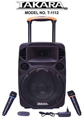 TAKARA T-1112 Portable Trolley Speaker 12 Inch Multimedia BT, Karaoke with Audio Recording, USB, SD,FM PA System with 2 Wireless Mic.