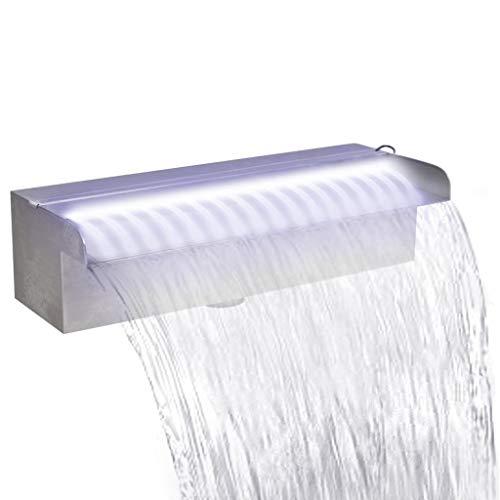 vidaXL Edelstahl Wasserfall 30cm Wasserspiel mit LED Beleuchtung Bachlauf Garten
