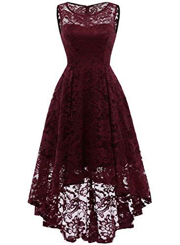 MuaDress MUA6006 Elegant Kleid aus Spitzen Damen Ärmellos Unregelmässig Cocktailkleider Party Ballkleid Burgundy XL