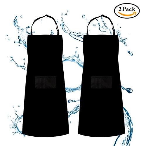 Delantal, delantal ajustable babero Waterdrop resistente con 2 bolsillos Cocina cocina jardinería barbacoa delantales, paquete 2 negro, para mujeres hombres chef por ss shovan