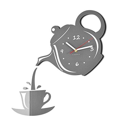 Orologio da parete moderno, a forma di caffettiera e tazzina da caffè, ideale per cucina, grigio