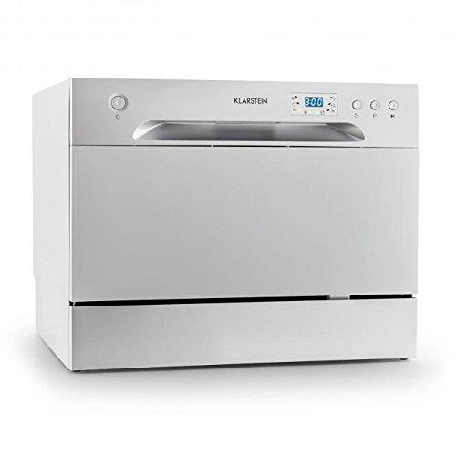 Klarstein Amazonia 6 - Mini Lave-vaisselle compact et silencieux de classe A+, 1380W pour 6 couverts (pose libre, panier à couverts, 6 programmes, aquastop) - argent