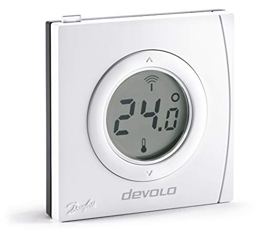 Devolo Thermostat d'ambiance Home Control (thermostat sans fil, régulation du chauffage, Z-Wave pour applications domotiques, pilotage via appli iOS/Android, capteur connecté, montage apparent) blanc