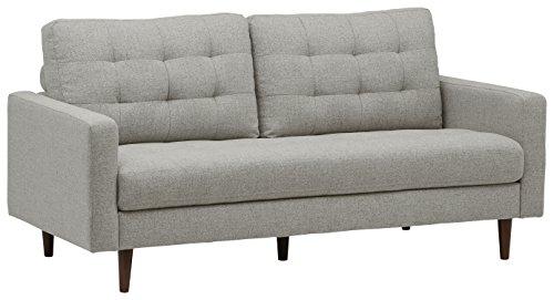 Marchio Amazon -Rivet, divano trapuntato modello Cove, stile mid-century, larghezza 80 cm, colore grigio chiaro