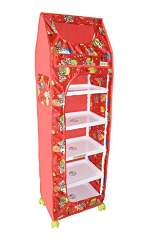 Flipzon Multipurpose 6 Shelve Baby Wardrobe, Foldable, (Unbreakable Material) (Family Red)