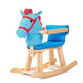 LGP Caballo Mecedora de Madera para niños Animal Rocker Plush Baby Rocking Horse con música Niño pequeño Balance Training Toy Toy Gift,S