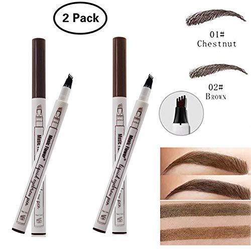 Dkina Tattoo Augenbrauenstift, 2 Farben Wasserdicht Augenbrauenstift mit 4 Tipps Wischfest Langanhaltend Eyebrow Pencil für Augen Make-up(Chestnut & Brown)
