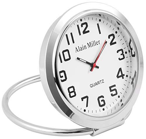 Alain Miller - Tischuhr Reiseuhr Schreibtischuhr Analog Quarz 3800002 (Silberfarben)