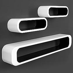 """3er Set Wandregal """"Cube"""" im Lounge-Retro-Stil mit unsichtbarer Aufhängung in Weiß/Schwarz"""