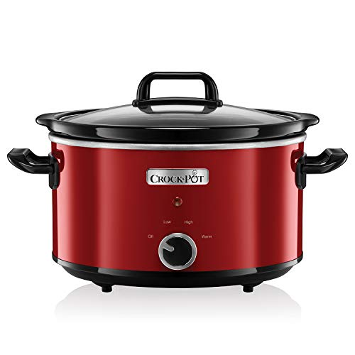 Crock-Pot Slow Cooker Pentola per Cottura Lenta, Capienza 3.5 Litri, Adatta Fino a 4 Persone, 210 W, Rosso