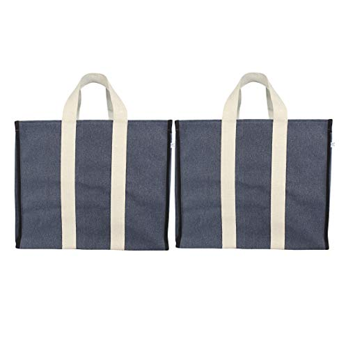 DOUBLE R BAGS Big Eco Cotton Canvas Shopping Bags for Carry Milk Grocery Fruits Vegetable with Reinforced Handles jhola Bag - Kitchen Essential (17x8.5x14-inches) (Pack of 2) (Blue)