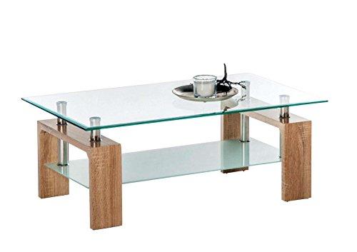 AVANTI TRENDSTORE - Culeo - Tavolino da divano con piano tavolo in vetro trasparente ed 1 ripiano in...
