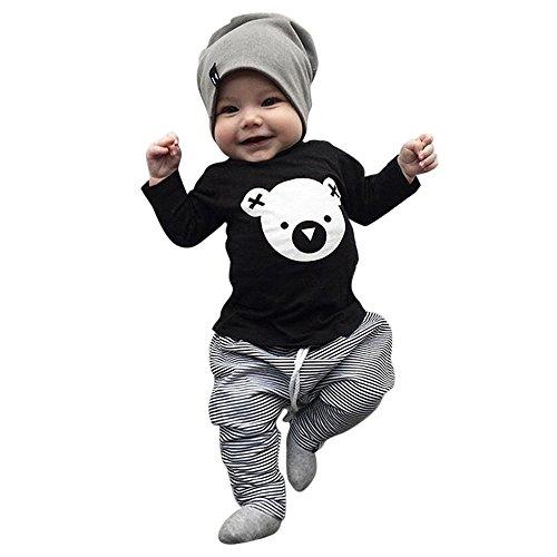 Btruely 2Pcs Neugeborene Kleidung Set Baby Junge Mädchen Kleider Set Lange Hülse Kapuzenpullover Gestreift Tops Hose Warm Outfits