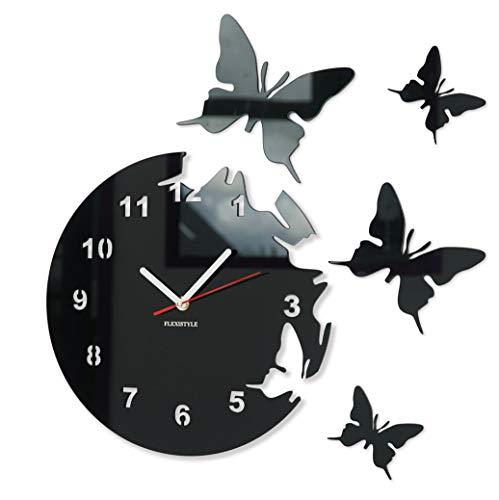 Orologio da parete salotto tondo moderno FARFALLE nero decorativo silenzioso 30 cm