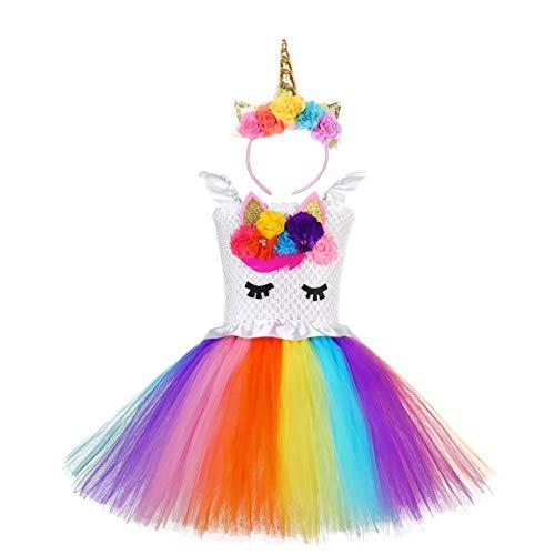 Ruiuzi Costume da Principessa in Tulle con Bambine e Unicorno per la Festa di Compleanno (11-12 Anni,Rainbow Flower)