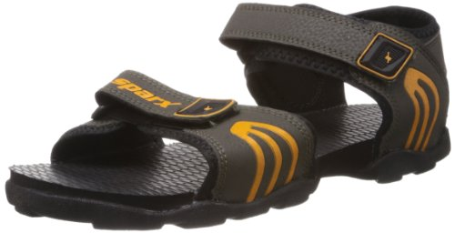 Sparx Men's Olive and Yellow Sandals and Floaters - 6 UK