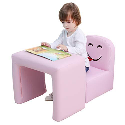 Emall Life Set Tavolo e Sedia Multifunzionale per Bambini, Diventa Una Poltrona per Bambini con Divertente Sorriso per maschietti e femminucce(Rosa)