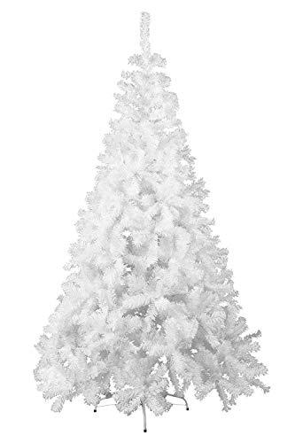 HENGMEI 210cm Albero di Natale Artificiale PVC Bianca Decorazione di Natale incl. Supporto in Metallo