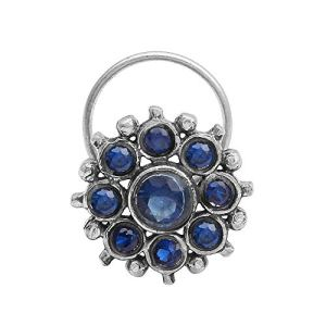 Multi-Colour CZ Gemstone 925 Sterling Silver Flower Design Oxidized Nose Pin For Women And Girls 11  Multi-Colour CZ Gemstone 925 Sterling Silver Flower Design Oxidized Nose Pin For Women And Girls 41eR54oBZPL