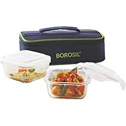 Borosil Glass Tiffin Set, 320ml, Set of 2, Clear
