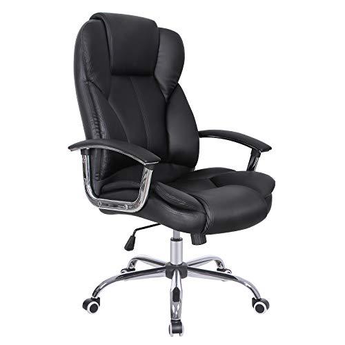 SONGMICS Bürostuhl mit verbreiterter Sitzfläche, höhenverstellbarer Chefsessel mit verdicktem Kopfkissen und Sitzpolster, ergonomisches Design, schwarz, OBG57B