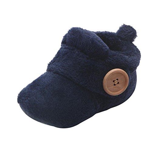Invernali Caldi Carino Baby Toddler Antiscivolo Fondo Morbido Scarpe da Bambino Stivali di Lana Scarpe in Cotone Spesse Scarponi da Neve Baby Shoes (età: 6~12 Mesi, Blu)