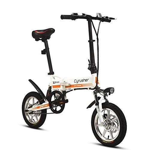 Cyrusher-XF600-Vlo-lectrique-Electric-Bike-Moteur-lectrique-en-alliage-daluminium-300W36V-Batterie-au-lithium-Bicyclette-pliante-Cadre-de-suspension-intgre-freins--doubles-disques-Roue-compacte-14-pou