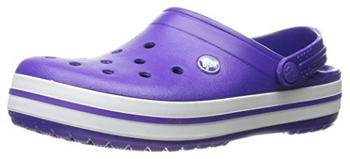crocs Unisex Crocband Clog, Ultraviolet/White, 6 US Men / 8 US Women