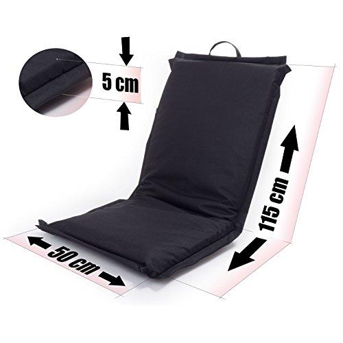 Ampel 24 Siège de sol FESTIVAL, chaise de méditation avec dossier réglable | Siège pliable parfait pour l'extèrieur | imperméable | noir 8