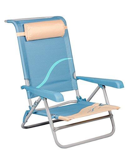 Meerweh Erwachsene Strandstuhl mit Verstellbarer Rückenlehne und Kopfpolster Klappstuhl Anglerstuhl, beige/blau Campingstuhl XXL