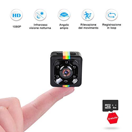 Mini Telecamera Spia Nascosta, FLYLINKTECH Full HD 1080P Microcamere Spia Interno/Esterno Rilevamento di Movimento Portatile Videocamera di Sorveglianza Video con scheda SD da 8GB