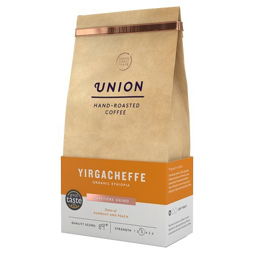 Union Yirgacheffe Ethiopia ground coffee (a floral notes, kumquat, peach, toffee coffee with aromas of caramel and roasted, dried fruit and citrus fruit, fresh fruit and petals)