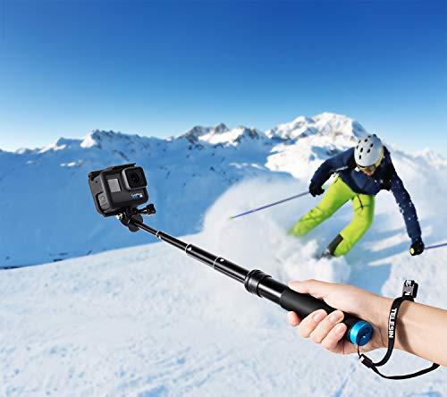 Coolway Bastone, asta per Selfie compatibile con GoPro e Action Cam, maniglia galleggiante in alluminio inossidabile, ideale per il surf, sci, immersioni subacquee, treppiede per GoPro