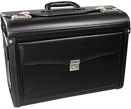 com-four® Pilotenkoffer   Aktenkoffer schwarz, 46,0 x 33,5 x 21,0 cm, Leergewicht: ca. 2,1 Kg