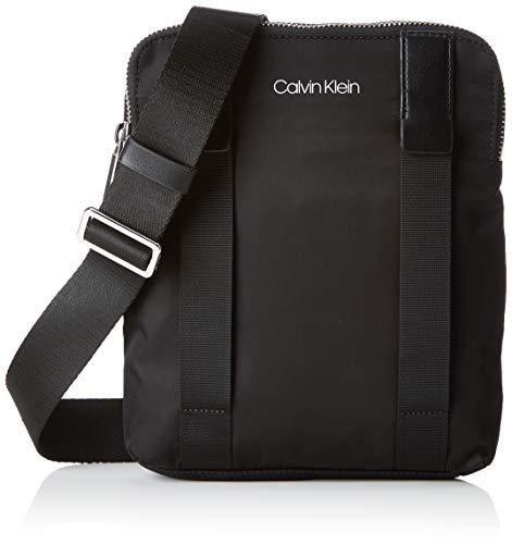 Calvin Klein - Braced Flat Crossover, Shoppers y bolsos de hombro Hombre, Negro (Black), 3x22x27 cm (B x H T)