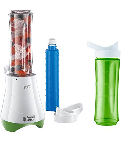 Russell Hobbs 21350-56 Kitchen Collection Mix & Go - Mini batidora, 300 W, cuchilla para hielo, incluye 2 vasos y 2 tapas, libre de BPA, color blanco y verde