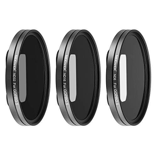 Neewer multirivestito filtro kit per GoPro Hero 5, Hero 6, include ND8, ND16, ND32 con 3 lenti tappi; realizzato in lega di alluminio telaio e vetro ottico HD