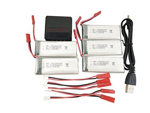 Fytoo 5pezzi 3.7V 900mah Batterie al litio e 5in1 Caricabatterie e cavo di ricarica per 8807 8807W...
