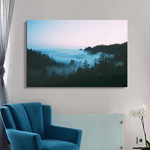 Immagini su Tela Nebbia Foresta Montagna Lago Alberi Poster Soggiorno Stampe Paesaggi Pittura...