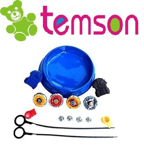 TEMSON Babytintin 4 in1 Plastic Beyblade Clash Tornado Speed Top Metal Fusion (Assorted Colour)