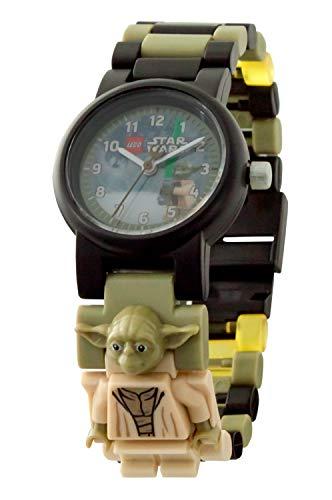LEGO Star Wars 8021032 Yoda Kinder-Armbanduhr mit Minifigur und Gliederarmband zum Zusammenbauen , grün/schwarz, Kunststoff, Gehäusedurchmesser 25 mm , analoge Quarzuhr , Junge/ Mädchen , offiziell