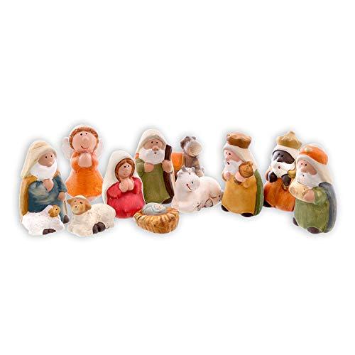 Olsen Set di statuine per Presepe - 11 Pezzi - Figure in Ceramica