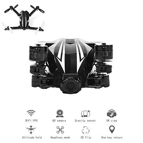 YMXLJJ Drone Pieghevole Con Telecamera HD 720P WIFI FPV Quadcopter Altitudine Manutenzione/Modalità Senza Testa/3D Flip/One Key Ritorno Beginner Training Machine Nero
