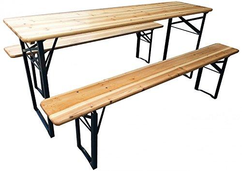 Bierzeltgarnitur klappbar Set 3 teilig Sitzgruppe - Biertisch und Bänke Garten Festzeltgarnitur Faltbar L177 x B46/23 cm Gartenmöbel Holz Lackiert